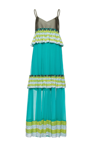 Medium gem green madreperla ruches long slip dress