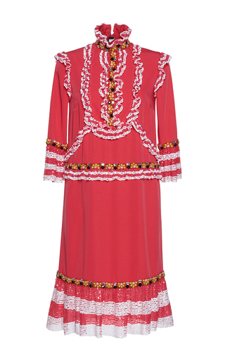 Medium gem red marzo ruches long sleeve dress