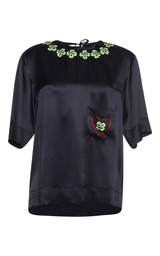 Medium gem black costanza hearts and shamrocks top