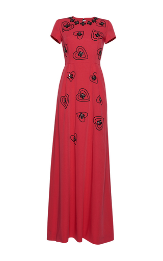 Medium gem red hearts and shamrocks long dress