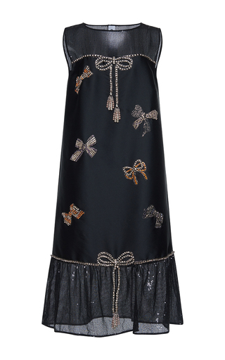 Medium gem black emilia cristal bows volant dress
