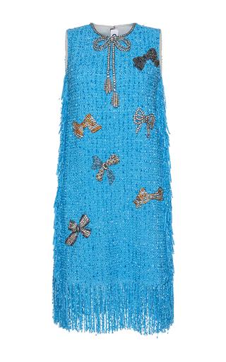 Medium gem blue eloisa cristal bows fringe dress