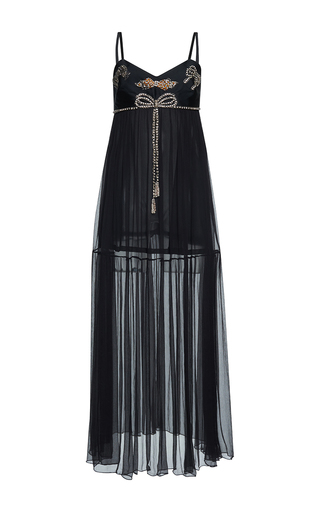 Medium gem black elsa cristal bows long dress