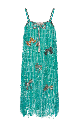 Medium gem green eva cristal bows fringe slip dress