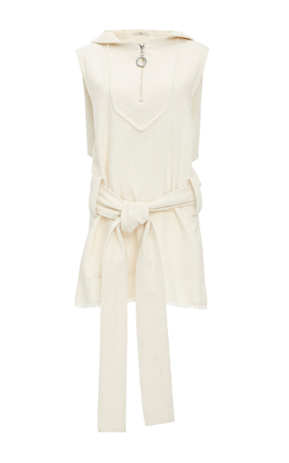 Medium edun white canvas hooded gilet