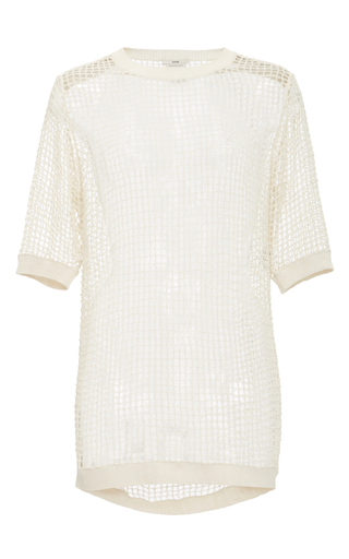 Medium edun white mesh crochet short sleeve top