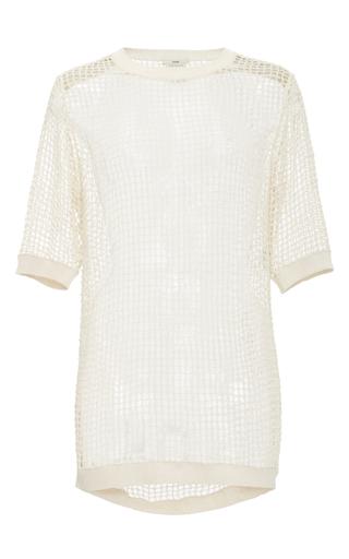 Medium edun white mesh crochet short sleeve top