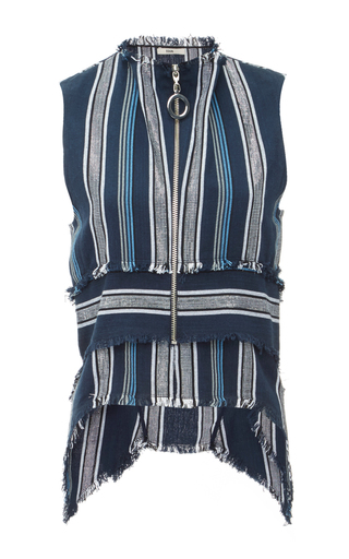 Medium edun blue textured stripe layered front top