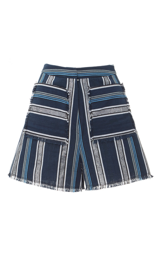 Medium edun blue textured stripe raw edge short