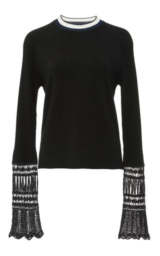 Medium edun black rib crochet pullover top