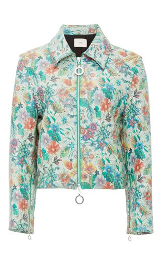 Medium edun blue flower tile leather cropped jacket