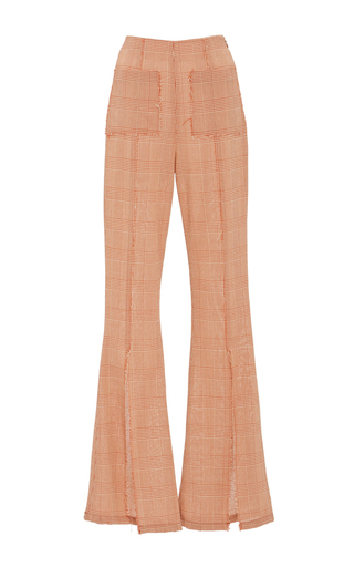 Medium edun red mini check drawcord slit pant