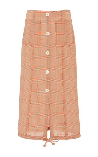 Medium edun red mini check midi skirt