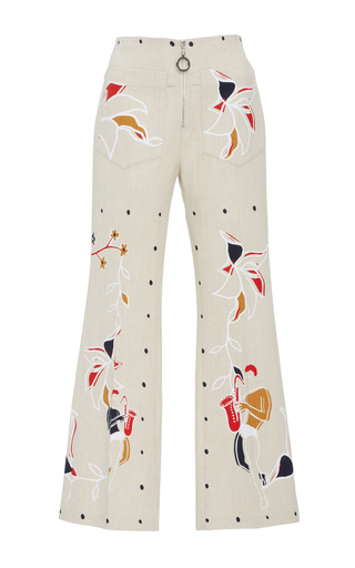 Medium edun white harlem dance linen flare pant