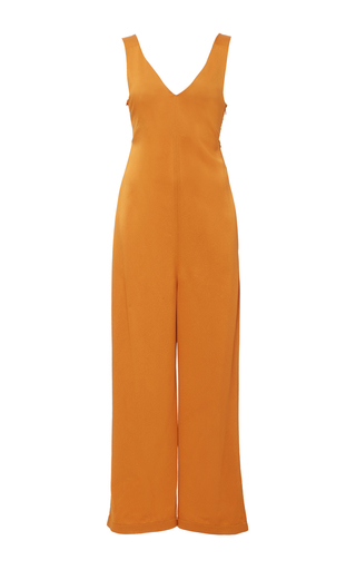 Medium edun orange liquid satin smock jumpsuit