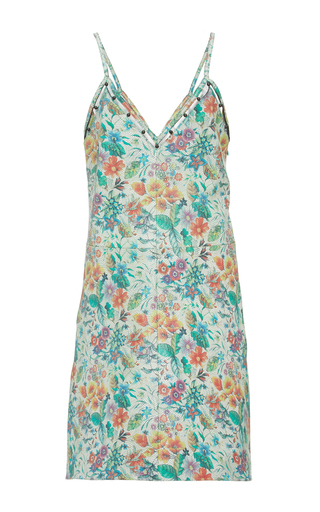 Medium edun blue flower tile leather beaded camisole dress