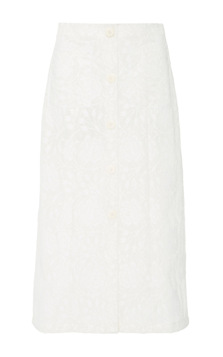Medium edun white coated lace midi skirt