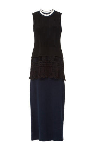 Medium edun black rib crochet sleeveless dress
