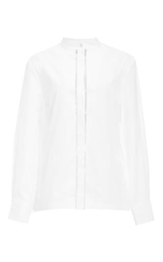 Medium edun white cotton poplin beaded placket blouse