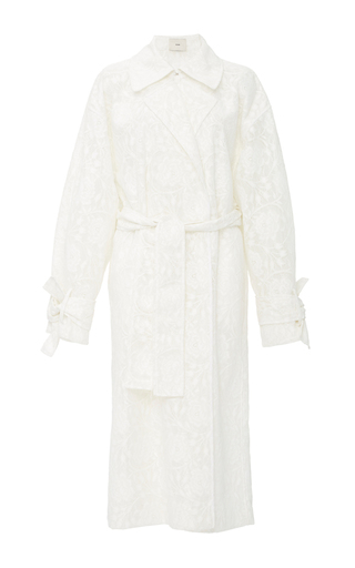 Medium edun white coated lace trench coat