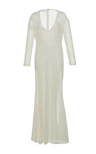 Medium sandra mansour white perle beaded long dress