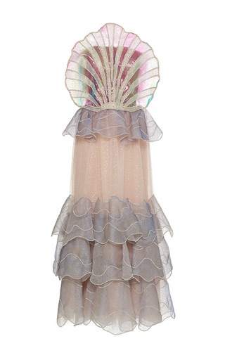 Medium sandra mansour multi coquillage tulle embroidered long dress