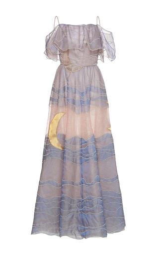 Medium sandra mansour multi claire de lune tulle embroidered long dress