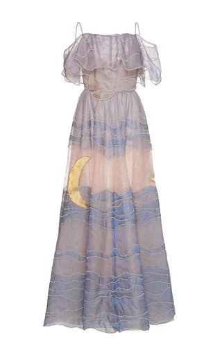 Medium sandra mansour multi claire de lune tulle embroidered long dress