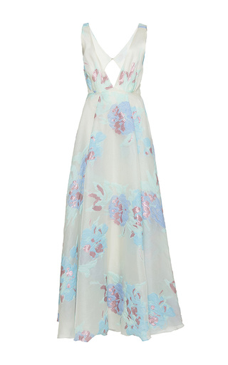 Medium sandra mansour floral flocon de laine brocade long dress