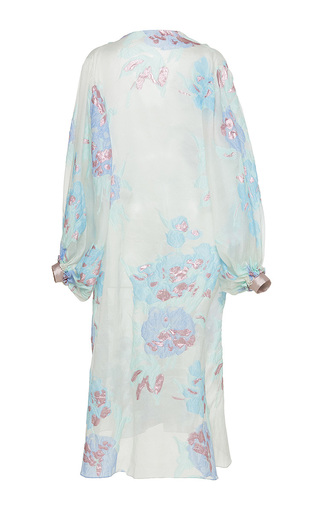 Medium sandra mansour floral la mer aime le ciel brocade long jacket