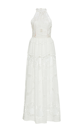 Medium sandra mansour white nuit etoilee cotton tulle embroidered long dress
