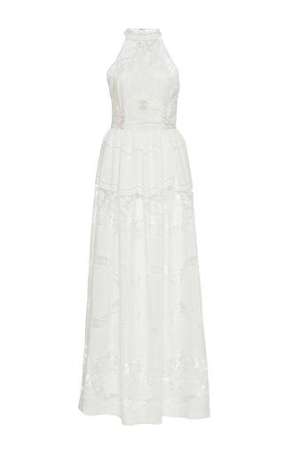 Medium sandra mansour white nuit etoilee cotton tulle embroidered long dress