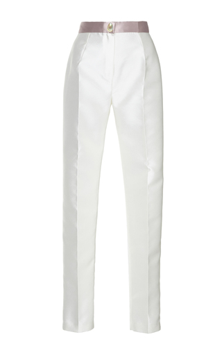 Medium sandra mansour white corail double face mikado pants