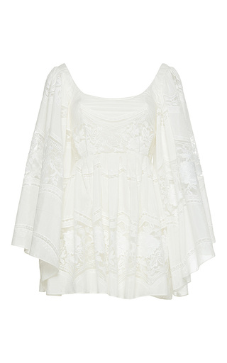 Medium sandra mansour white nuit cotton tulle embroidered mini dress