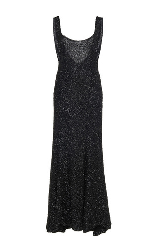 Medium sandra mansour black aurore beaded midi dress