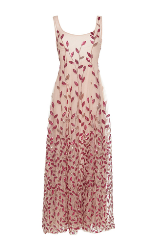 Medium sandra mansour pink sirene beaded midi dress
