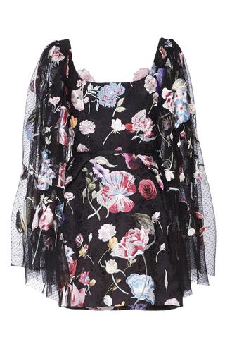 Medium sandra mansour black colore par l aurore printed brocade embroidered mini dress