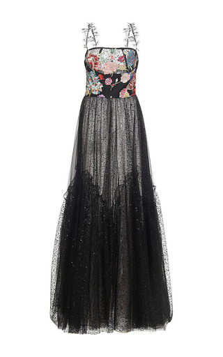 Medium sandra mansour black etoile filante printed tulle brocade embroidered long dress
