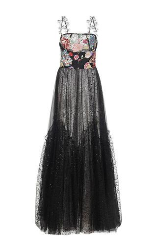 Medium sandra mansour black etoile filante printed tulle brocade embroidered long dress