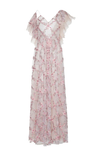 Medium sandra mansour pink starlette tulle organza embroidered long dress
