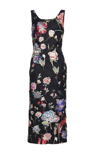 Medium sandra mansour floral reflect sucre printed brocade embroidered midi dress