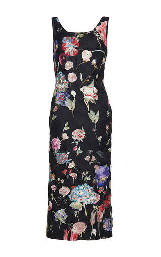 Medium sandra mansour floral reflect sucre printed brocade embroidered midi dress