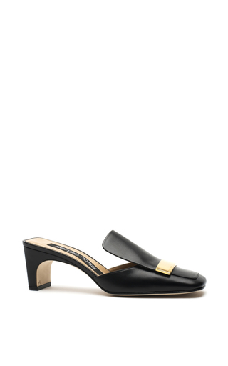Medium sergio rossi black black leather mules