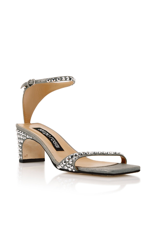 c6ab77a5c Sergio RossiJeweled Silver Suede Sandals