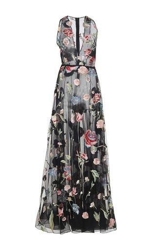 Medium sandra mansour black il pleut doucement lace embroidered long dress