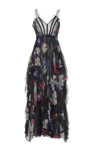 Medium sandra mansour floral maree haute printed mousseline long dress
