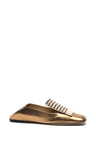 Medium sergio rossi metallic metallic crinkle leather flats