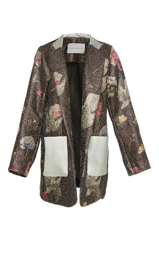 Medium sandra mansour floral eclair de soleil printed brocade jacket