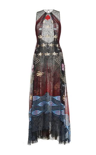 Medium sandra mansour black vagues de nuit lace embroidered long dress
