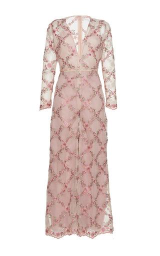 Medium sandra mansour pink fleur de mer tulle organza embroidered overalls